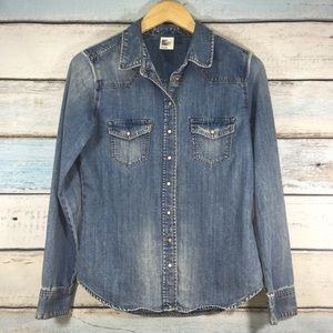H&M Jean top buttoned down size 8